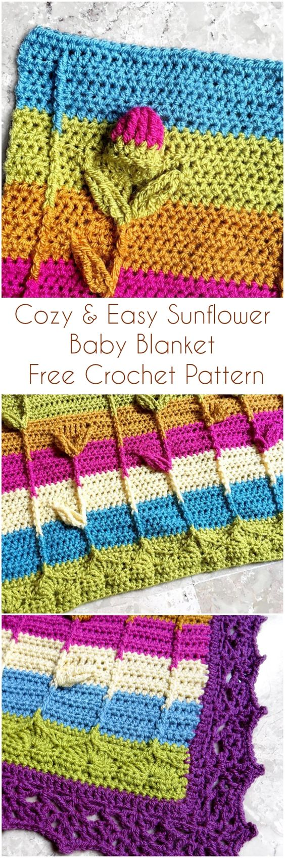 Cozy & Easy Sunflower Baby Blanket Free Crochet Pattern #sunflower #crochet #freecrochetpatterns #crochetpattern #babyblanket #craft #handmade