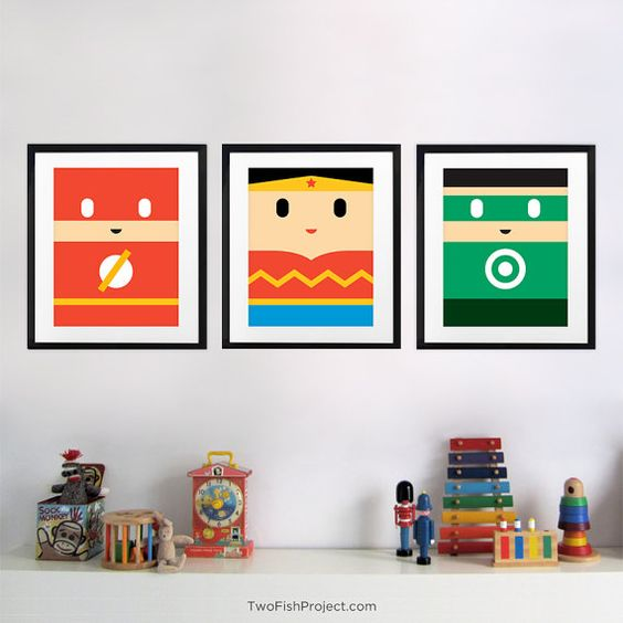 Wonder Woman Wall Art Print for Kids Room by TwoFishProject