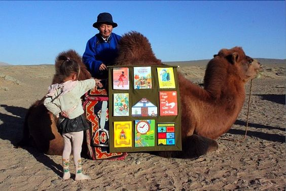 Bactrian Camel Bookmobile Library (Mongolia):