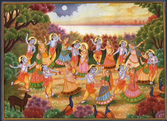Rasleela - Divine Dance of Love. Krishna Radha Art.