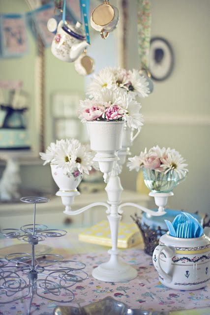Make: Tea Cup Candelabra: Centerpiece Ideas, Hanging Teacups, Teacup Candelabra, Birthday Party Ideas, Tea Cups, Cup Ideas, Birthday Ideas