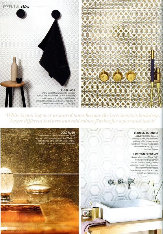 Komon gold tiles from Laurence Pidgeon laurencepidgeon com Essential  Kitchen Bathroom Bedroom March 2015. Komon gold tiles from Laurence Pidgeon laurencepidgeon com