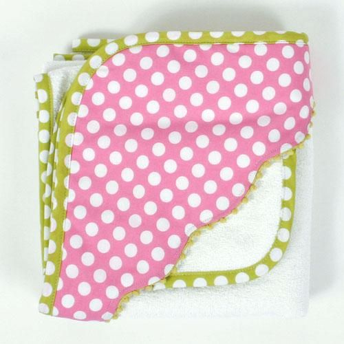 Lots of white dots decorate this soft pink hooded towel from 3 Marthas. $35.99
