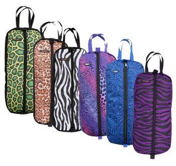 "Tough-1 Animal & Fun Print Halter/Bridle Bag . $20.99. Heavily Padded Bag This durable halter/bridle bag features a heavy-duty zipper and a double nylon handle for carrying. It includes 3 nylon web hanging straps with ""quick-grip"" closures inside and has very thick padded nylon lining for great protection. Choose Turtle, Leopard, Zebra, Wild Safari, Tribal Tattoo, and Giraffe (not pictured above) Measures 28"" X 12"" with 3 "" gusset."