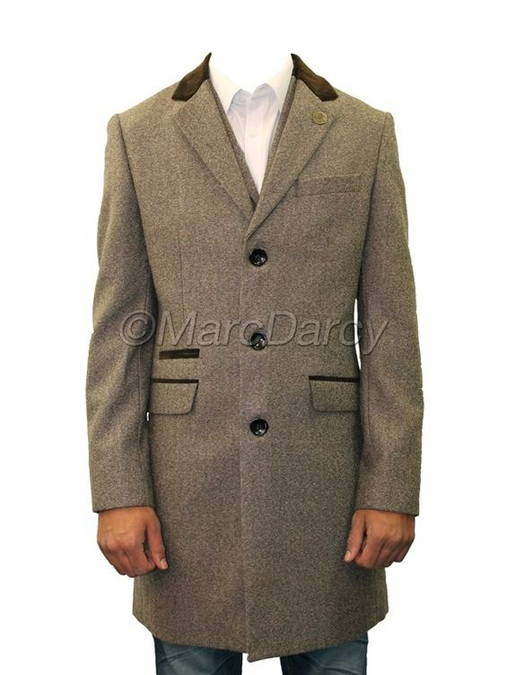 Mens Designer Tan Brown Tweed Vintage Long Coat Jacket