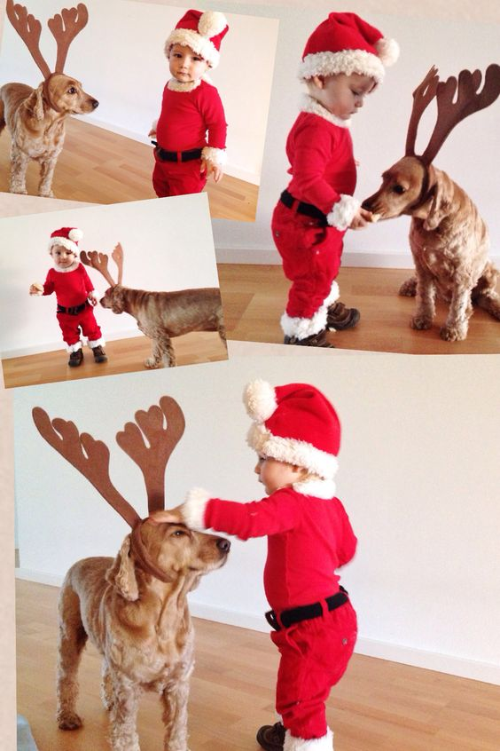 Baby and dog (Santa baby and reindeer dog) christmas costume.: