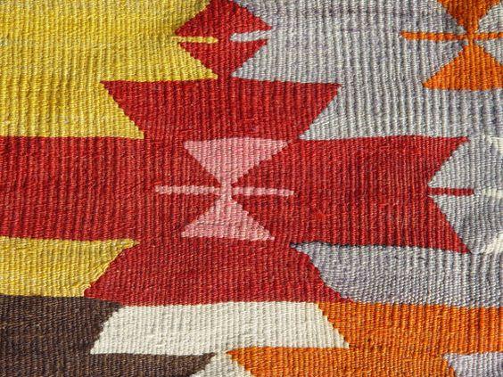 Nomadic Turkish Kilim Rug Carpet circa 1950