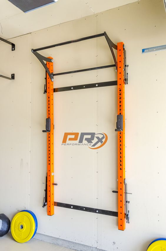 The Space Saving Squat Rack all folded up and out of the way.