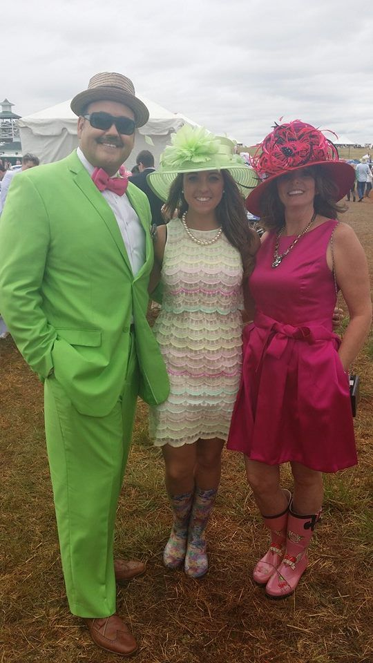 Who would have thought...lime suit and bow tie!? Then other great arm accessories include two well-dressed ladies with fashion floral print galoshes 2014 @Atlanta Steeplechase