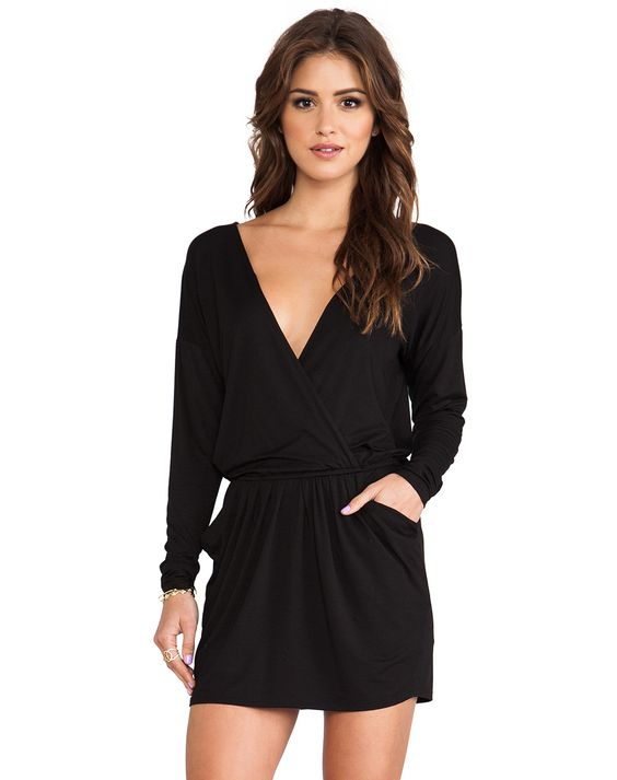Shop Black Long Sleeve V Neck Pockets Shift Dress online ...