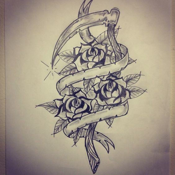 Traditional sickle / roses / banner tattoo sketch by ...