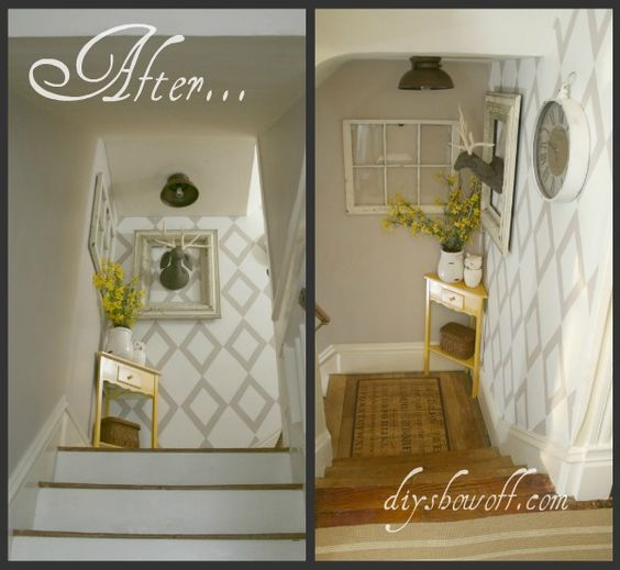 Stairway Landing Makeover, before and after. Taped wall stencil.
