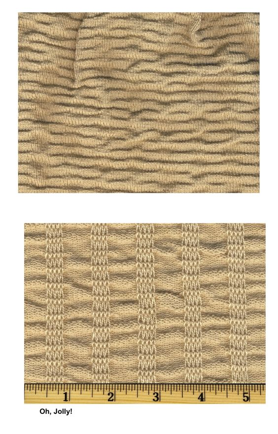 This shows nicely how this machine knitted fabric is created. Very nice. From Oh, Jolly!