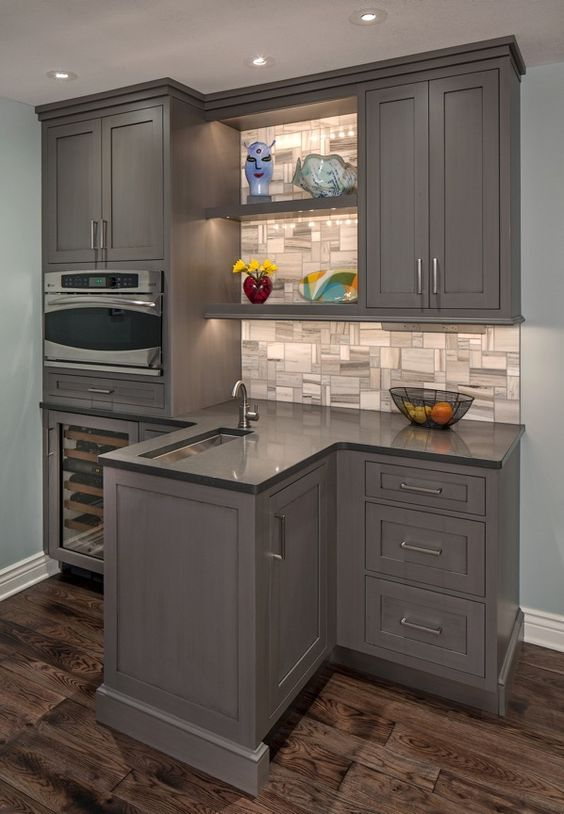 Functional bar brookhaven cabinets in vintage slate for Brookhaven kitchen cabinets