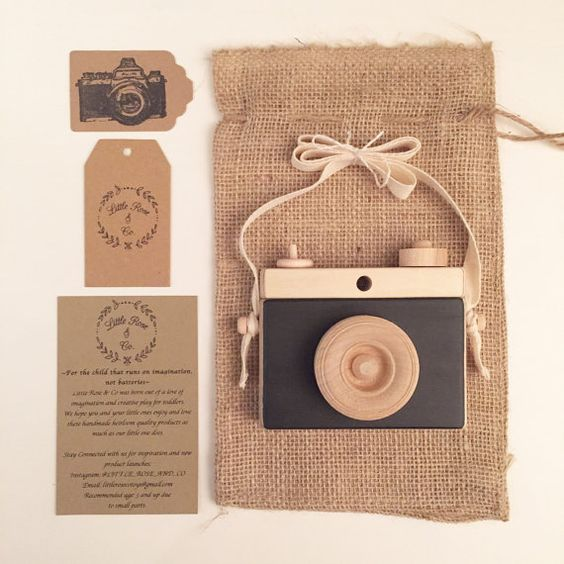 Wooden Handmade Camera by Little Rose & Co in Black