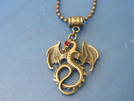 Bronze Dragon Pendant with Red Crystal Eye Necklace by DaKsJewelry