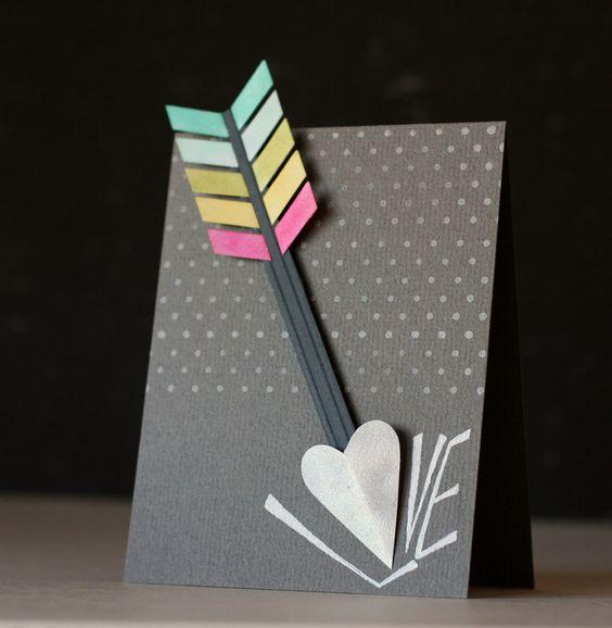 Flechas de Cupido, tarjeta para el día de san Valentín   -   Cupid's Arrow hits the spot on this DIY Valentine's Day card (bonus 2nd card!)