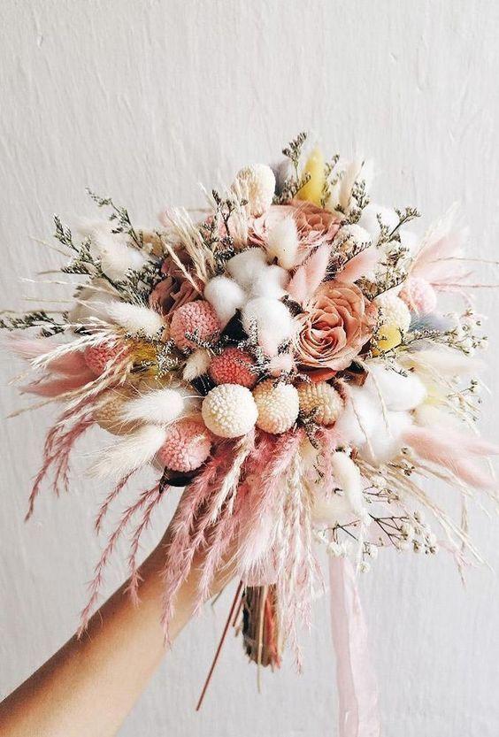 40 Pretty Wedding Bouquet Ideas For 2020 Trends In 2020 Dried Flowers Wedding Dried Flower Arrangements Dried Flower Bouquet