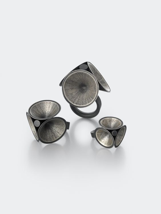 Silver textured and Oxidised rings