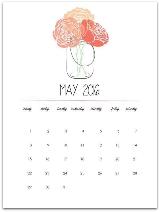 May Calendar Page Printable – Mason Jar with Flowers Free Printable.  Click here to download May 2016 mason jar calendar page printable.   To my dear, dear, dear mason jar craft loving r…: