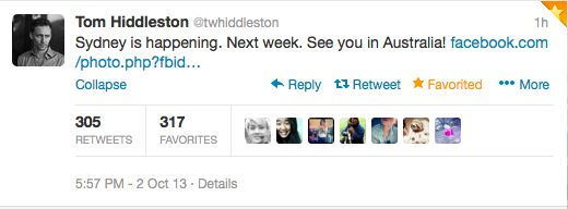 Scrolling through my twitter feed... *BAM* Dead. Full cardiac arrest. TOM HIDDLESTON is coming to AUSTRALIA...