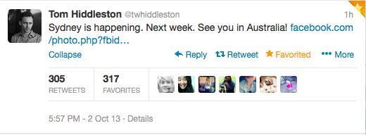 Scrolling through my twitter feed... *BAM* Dead. Full cardiac arrest. TOM HIDDLESTON is coming to AUSTRALIA...