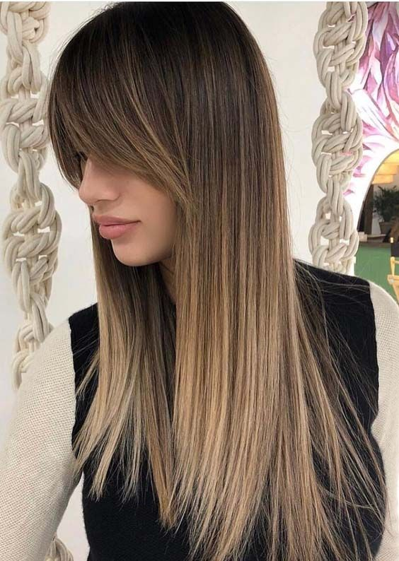 21 Gorgeous Sleek Straight Balayage Hairstyles with Bangs
