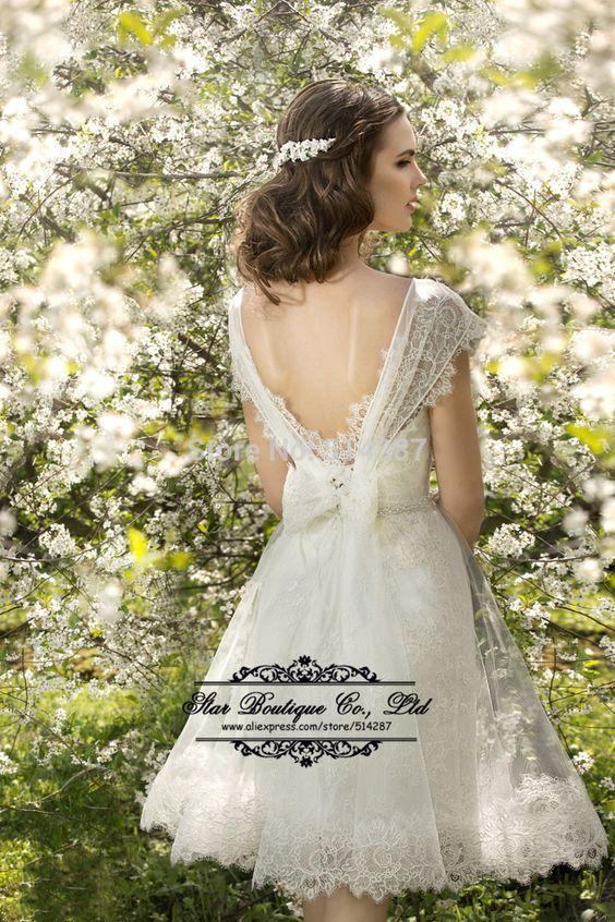 Vestido De Noiva 2015 Scoop Neckline Cap Sleeve Short Lace Wedding Dresses Backless Bridal Dress