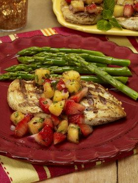 Grilled Chicken with Strawberry Pineapple Salsa.