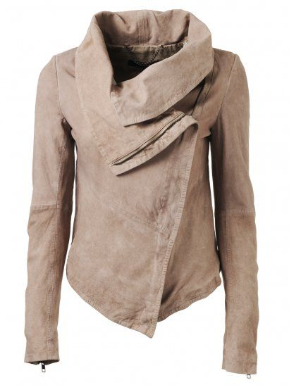 Muubaa Thaxter Drape Suede Cardigan in Light Mink.