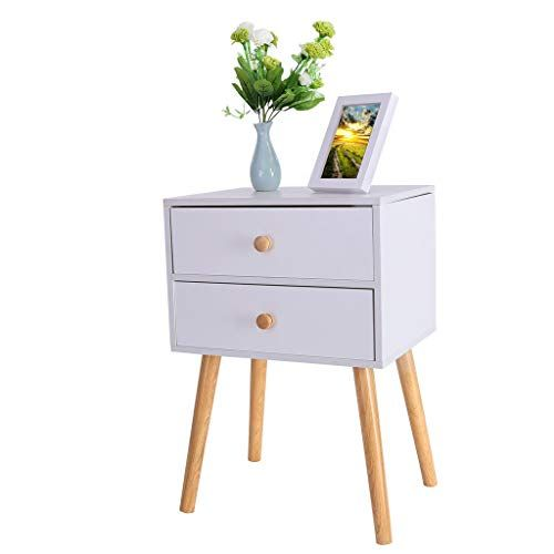 Juesi Nightstand W 2 Drawers End Table Storage Modern Mid