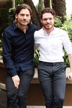 Another sweet Nikolaj Coster-Waldau  Richard Madden at Game of Thrones Season 3 Press Conference (03.18)