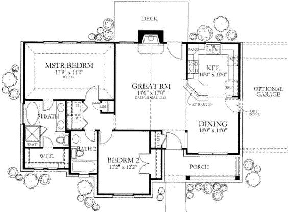 Ranch Style House Plan 2 Beds 2 Baths 1092 Sq Ft Plan