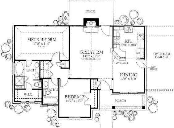 Ranch Style House Plan 2 Beds 2 Baths 1092 SqFt Plan 80 101