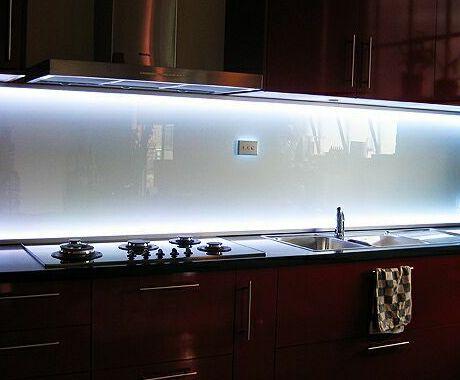 backlit glass backsplash our sink has no cabinets above it for undercabine. Black Bedroom Furniture Sets. Home Design Ideas