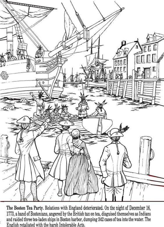 All Things John Adams Coloring Pages Boston Tea Party Boston Tea Coloring Page