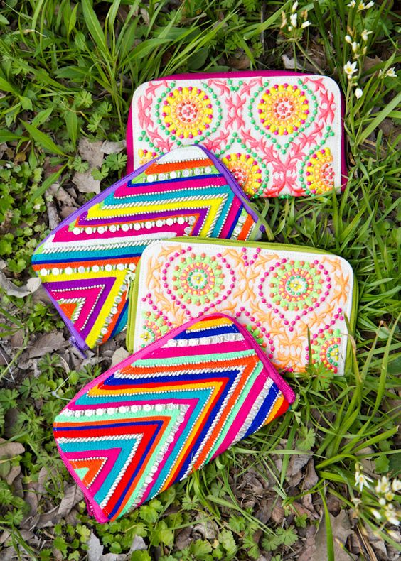 Beaded & Embroidered Handmade Wallets. Vibrant and beautiful!