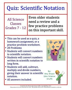 Scientific Notation Worksheet Or Quiz Or Homework ($) | Teaching Ideas |  Pinterest