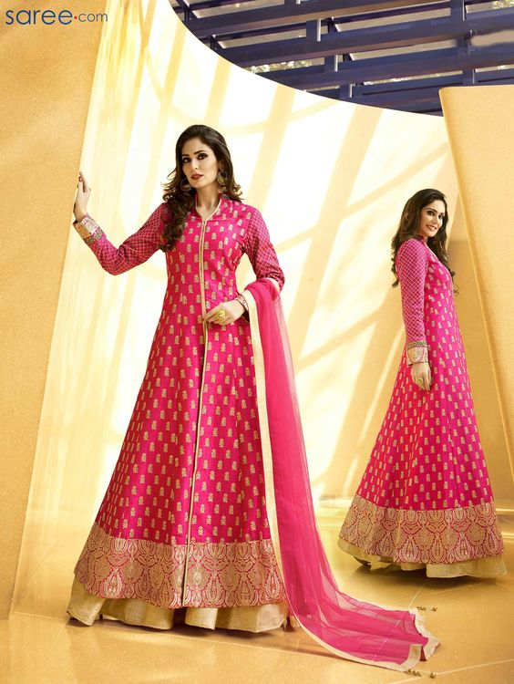 Pink Silk Suit with Zardosi Work