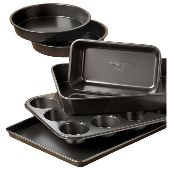 Calphalon  Simply 6-Piece Bakeware Set ($30) ❤ liked on Polyvore featuring home, kitchen & dining, bakeware, nonstick cake pan, nonstick bakeware, calphalon bakeware, calphalon cookie sheet and calphalon