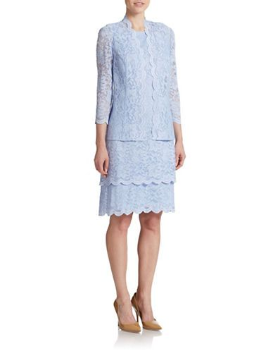 Sweet and sophisticated, this periwinkle, tiered lace dress and coordinating jacket make for refined look.