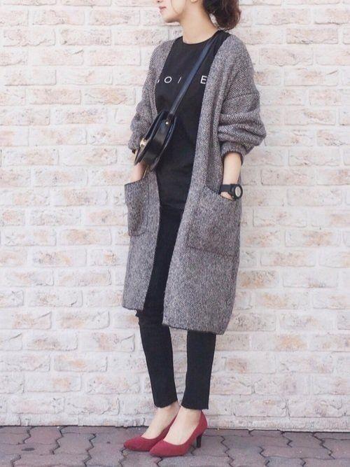 春のおしゃれが決まる ユニクロguのロングカーデ サンキュ 40代 ファッション ファッション 冬 ファッション レディース コート