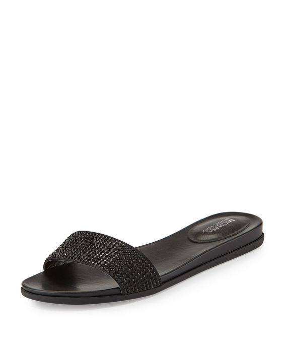 MICHAEL Michael Kors Eleanor Crystal Flat Slide Sandal, Black