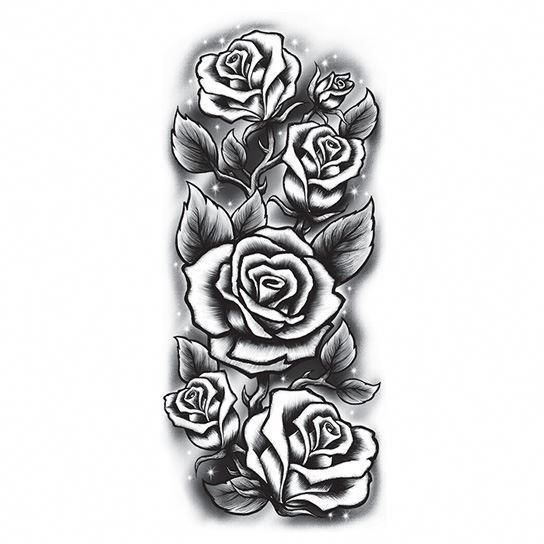 Black And White Roses Sleeve Temporary Tattoo Rose Tattoo Sleeve