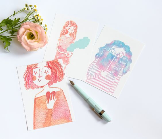Be kind to yourself set of 3 watercolour mini prints by andsmile