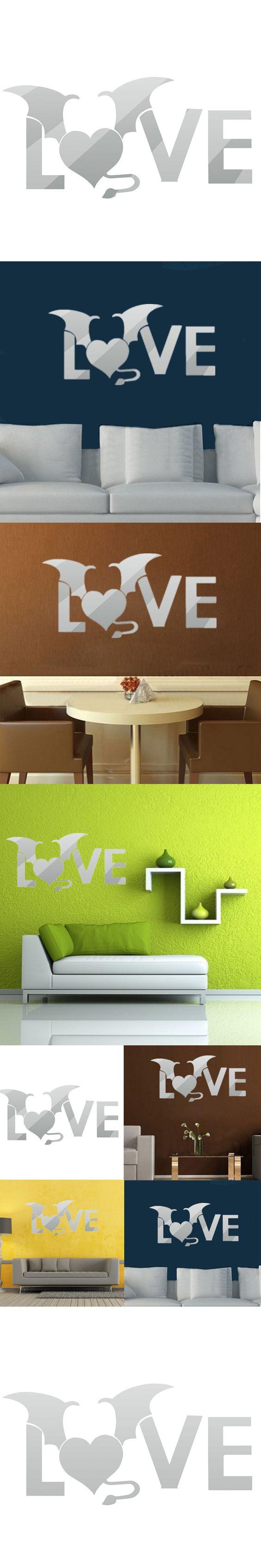Best Gifts DIY 3D LOVE Acrylic Mirror Wall Sticker Modern Art Home Office Kids Bedroom Decoration Decals