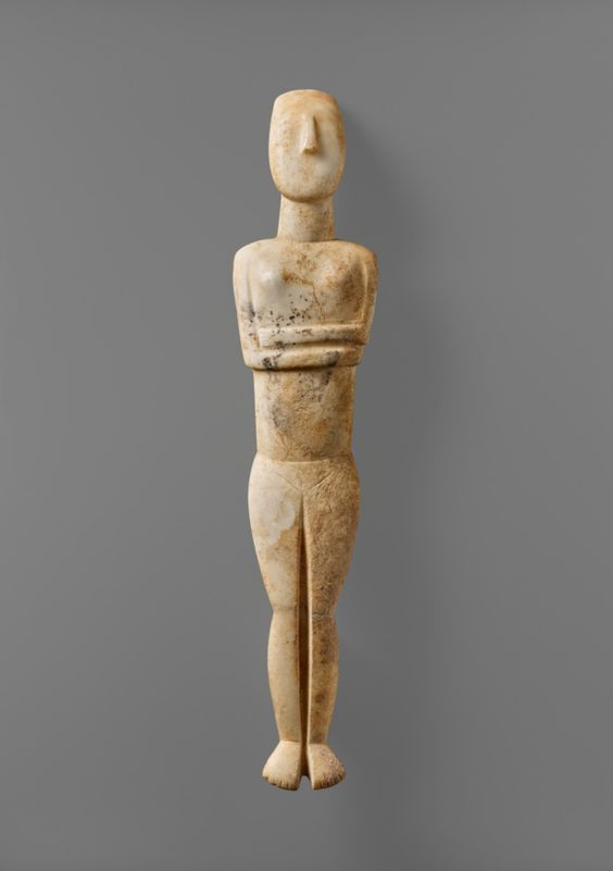 Female Figure of the Late Spedos Type; Attributed to the Steiner Master (Cycladic, active 2500 - 2400 B.C.); Cyclades, Greece; 2500–2400 B.C.; Marble; 59.9 × 12.2 × 4.5 cm (23 9/16 × 4 13/16 × 1 3/4 in.); 88.AA.80; J. Paul Getty Museum, Los Angeles, California