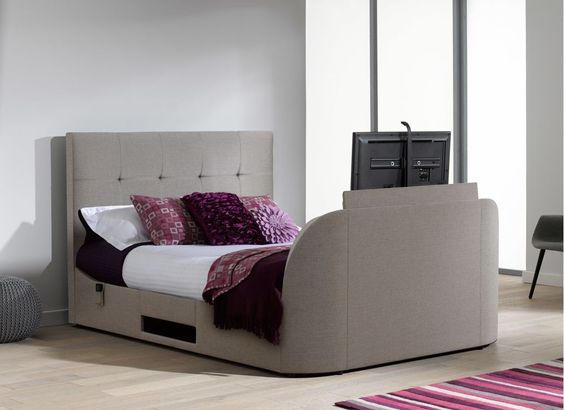 A bed with a built in TV? Yes please | Evolution T1 TV Bed Frame with LG LED TV - Oatmeal