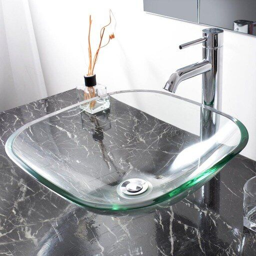 Bathroom Lavatory Tempered Glass Vessel Sink Natural Clear Square Shape Transparent Vanity Spa Basin In 2020 Glass Vessel Sinks Glass Bathroom Sink