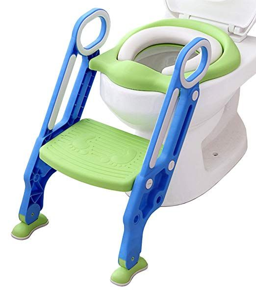 Kid Child Toddler Folding Step Foot Stool Plastic Foldable Chair Green Handle